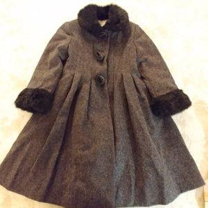 Rothschild Size 5 Girls Coat Wool Gray and Black